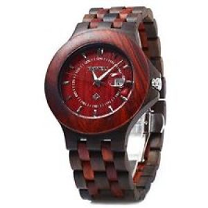 bewell GBlife 080A Quartz Men Wooden Watch with Date Luminous Wood Wrist Watch