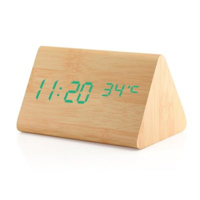 dual power multi action wooden alarm clock