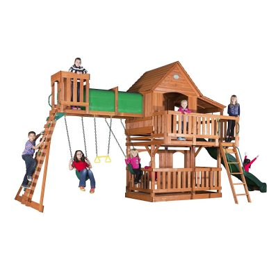 backyard discovery woodridge 2 wooden swing set review