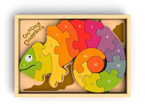 BeginAgain Counting wooden Chameleon Puzzle