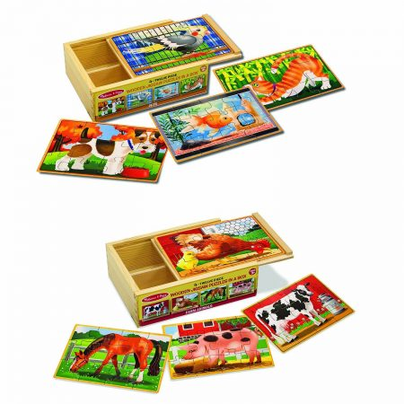 melissa and doug 4 in 1 wooden puzzle set